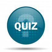 pic of quiz  - quiz blue glossy web icon  - JPG