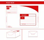 stock photo of postman  - parcel box package label red postman postoffice - JPG