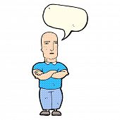 stock photo of annoying  - cartoon annoyed bald man with speech bubble - JPG