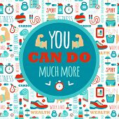 stock photo of motivational  - You can do much more phrase on fitness seamless pattern - JPG