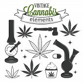 picture of marijuana leaf  - Set of medical vintage cannabis elements - JPG