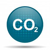 foto of carbon-dioxide  - carbon dioxide blue glossy web icon  - JPG