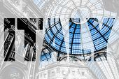 picture of emanuele  - Word ITALY over Glass dome of Galleria Vittorio Emanuele II shopping gallery - JPG