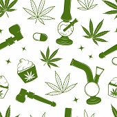 image of bong  - Seamless cannabis pattern with puncakes - JPG