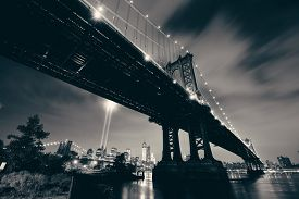 picture of tribute  - New York City downtown and september 11 tribute at night with Manhattan Bridge - JPG
