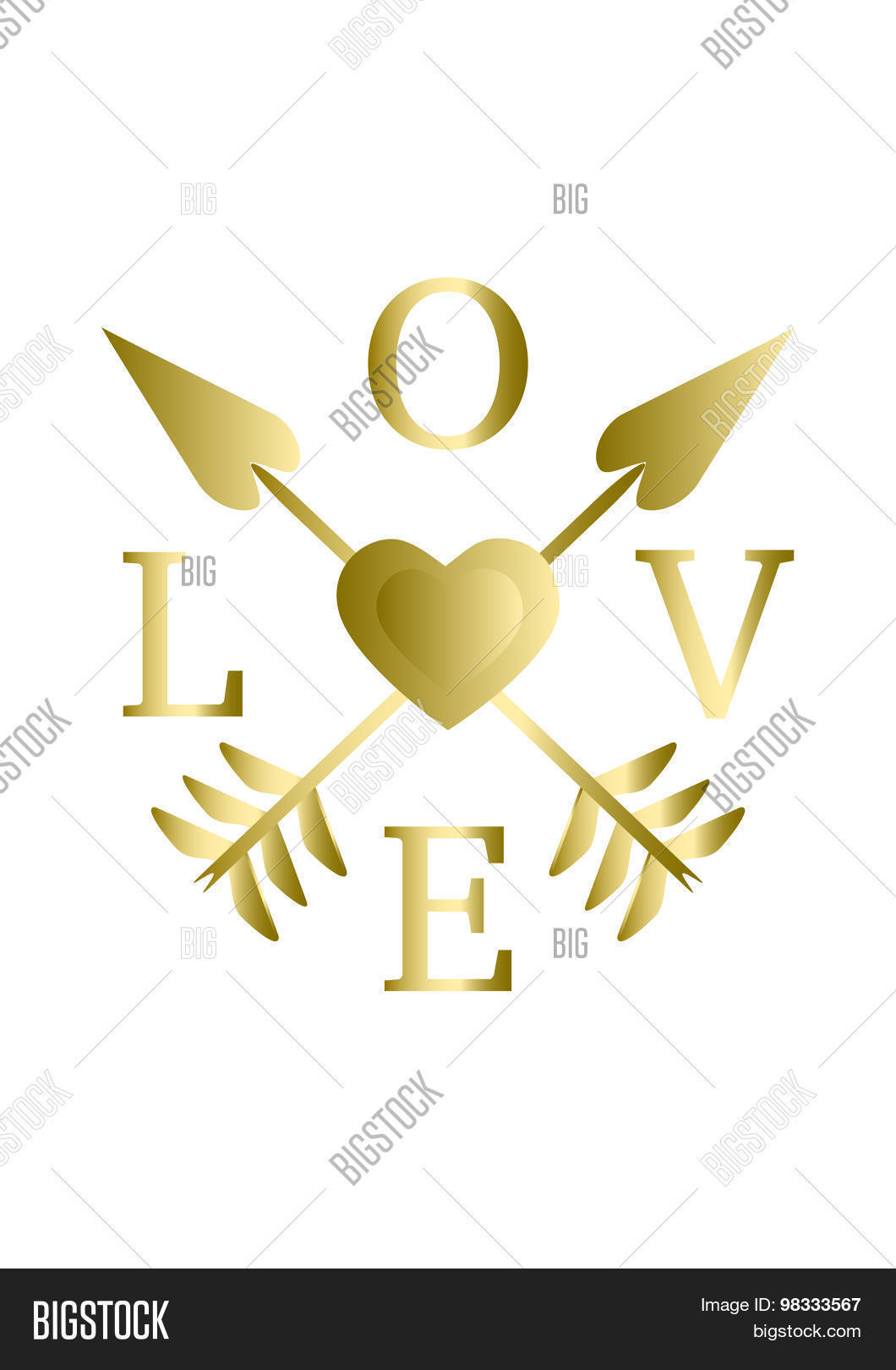 Inspirational word Love quotes card Gold heart and gold arrows vector illustration