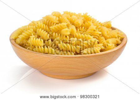 fusilli pasta in isolated on white background