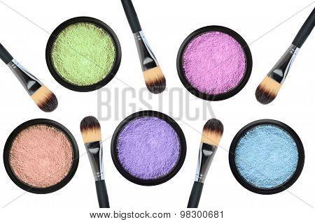 Set Of 5 Eyeshadows And Brushes Isolated On White Background