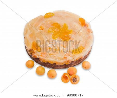 Apricot Pie And Several Fresh Apricots On A Light Background
