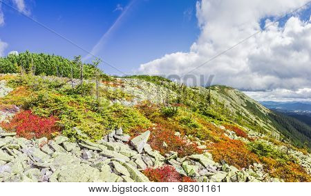 Mountain Autumn Landscape With The Slope Of The Ridge