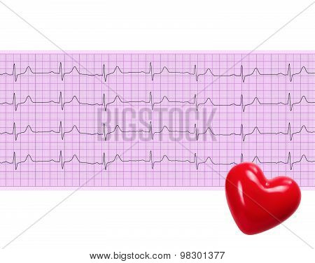 Heart Analysis, Electrocardiogram Graph And Red Heart (ecg)