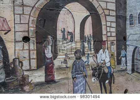 Kafr Yasif, Israel, July 25 2015: Painted walls and art are Painted wall on July 25, 2015, Kafr Yasi