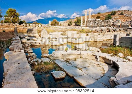 Drowned columns in Letoon near the ancient Lycian city Xanthos, Turkey