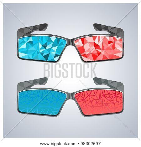 Polygon 3D Glasses, Vector Illustration.