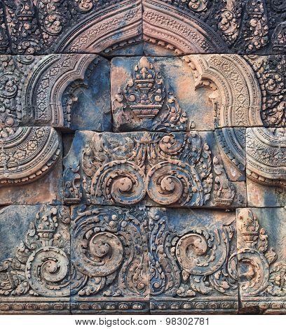 Banteay Srei temple bas-relief, Cambodia