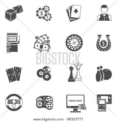 Casino gambling games black icons set