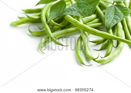 green beans on white backround