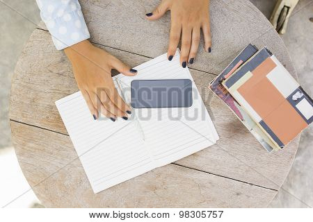 Girl With Books, Diary And Cell Phone