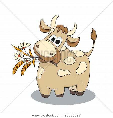Cute Cow With Flowers