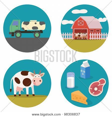 Dairy products flat illustration
