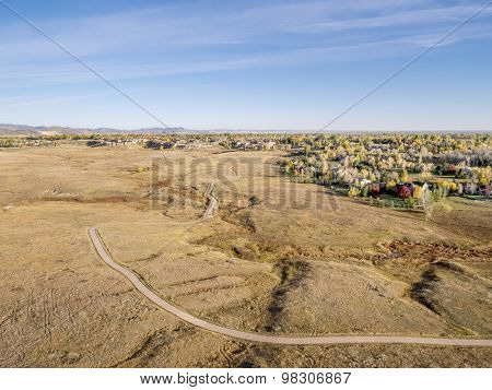 aerial view of a bike trail in a foothills prairie, Cathy Fromme Prairie Natural Area, Fort Collins, Colorado