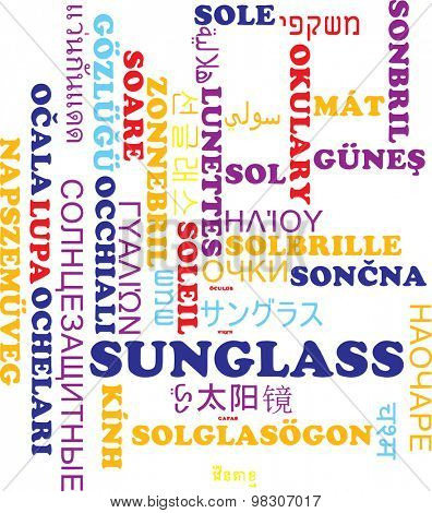 Background concept wordcloud multilanguage international many language illustration of sunglass