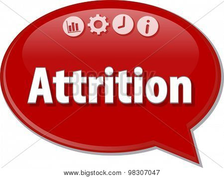 Speech bubble dialog illustration of business term saying Attrition
