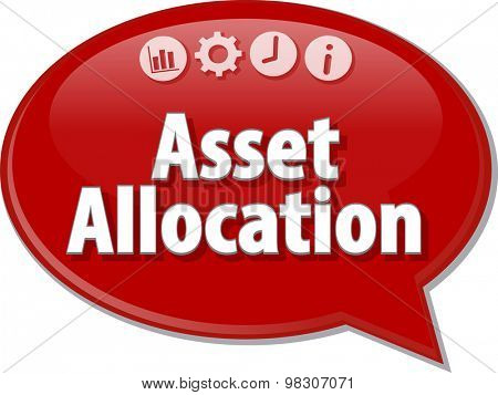 Speech bubble dialog illustration of business term saying Asset Allocation