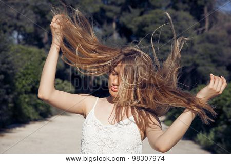 Flying hair