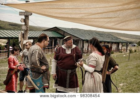 Vatra, Moldova. June 28, 2015. Medieval Festival.  Unidentified Participants