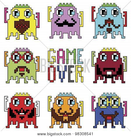 Pixelated hipster robot emoticons with simple WITH GAME OVER SIGN  inspired by 90's computer games s