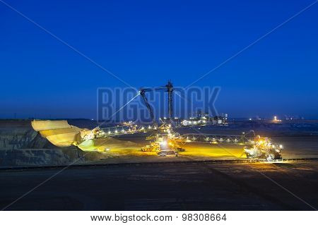 Bucket Wheel Excavator At Night