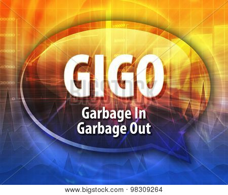 Speech bubble illustration of information technology acronym abbreviation term definition GIGO Garbage In Garbage Out