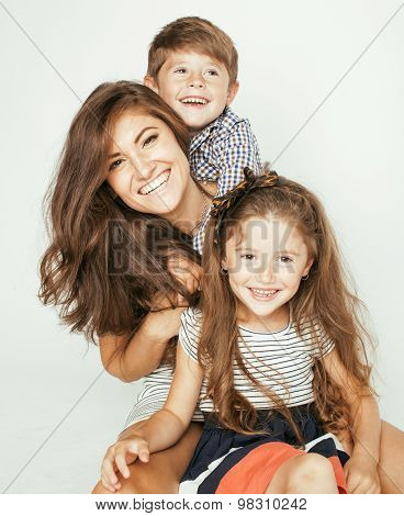 young mother with two children on white