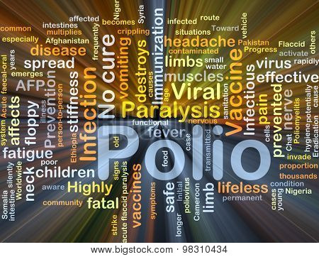 Background concept wordcloud illustration of polio glowing light