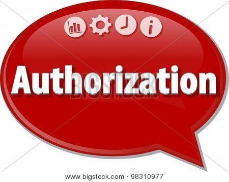 Speech bubble dialog illustration of business term saying Authorization
