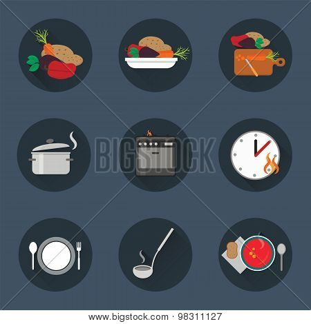 Cooking process icon set.