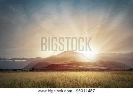 Natural landscape beautiful sunrise above mountain top
