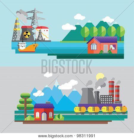 Set of vector modern flat design conceptual ecological illustrations