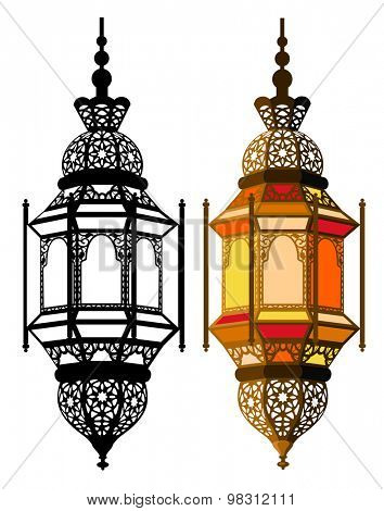 Arabic lantern in two variants - in multicolor and in monochrome. Vector illustration. Isolated on white background.