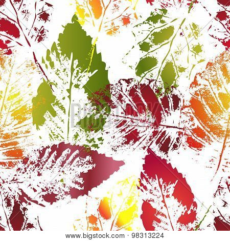 Autumn colorful leaves imprints