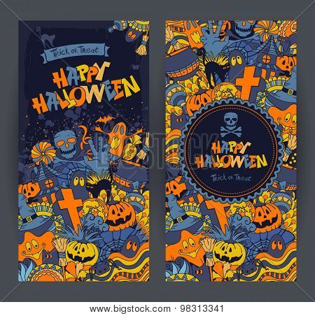 Happy Halloween retro styled doodle creative banners with various elements of holiday on dark blue grunge background. Vector illustration.