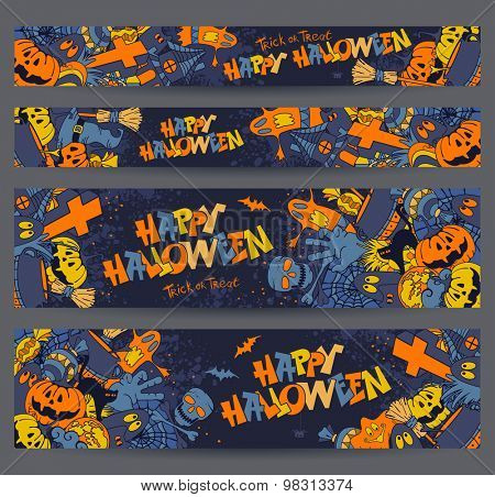 Happy Halloween retro styled doodle creative banners with various elements of holiday on dark blue grunge background. Proportions - standard for web. Vector illustration.