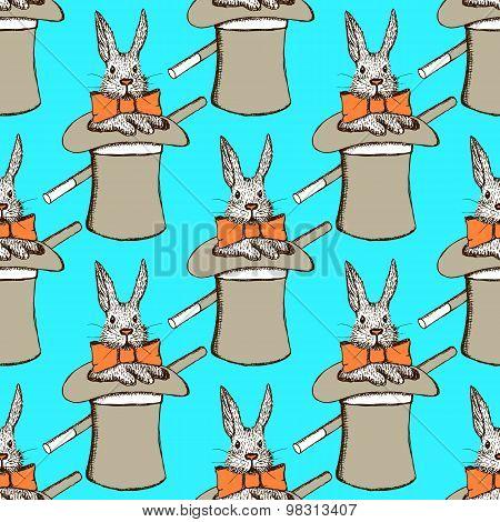 Sketch Rabbit In Hatl In Vintage Style