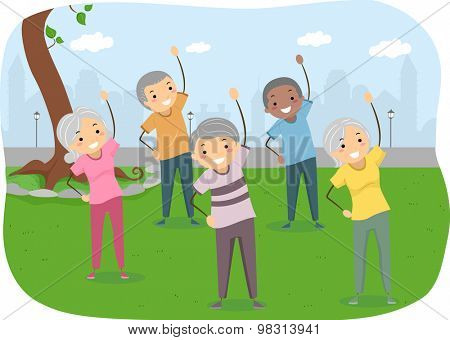 Stickman Illustration of Senior Citizens Exercising in the Park