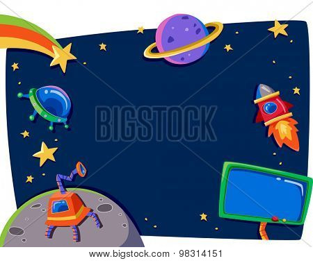 Frame Illustration Featuring Planets in Outer Space