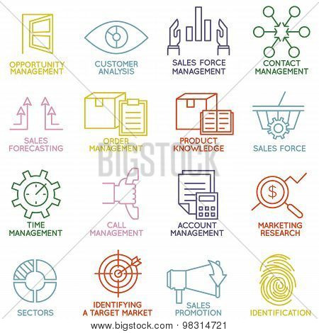 Vector Set Of Linear Customer Relationship Management Icons - Part 3
