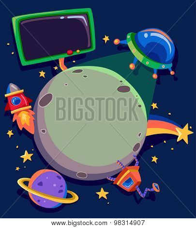 Frame Illustration Featuring Planets and Spacecrafts