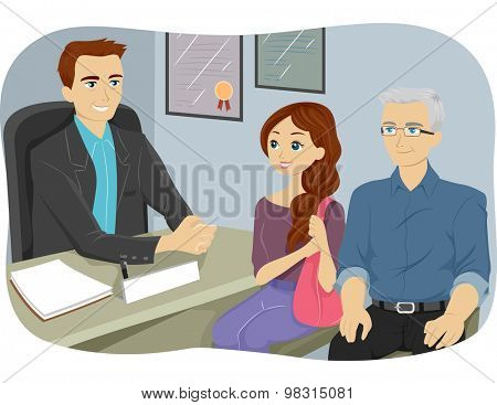 Illustration of a Grandfather Accompanying His Grandfather to a Counseling Session