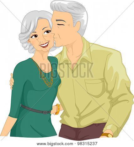 Illustration of an Elderly Man Kissing the Cheek of an Elderly Woman